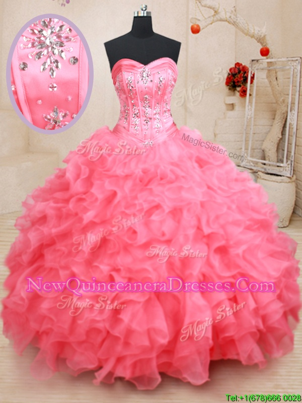 Customized Floor Length Watermelon Red Quinceanera Dresses Organza Sleeveless Spring and Summer and Fall and Winter Beading and Ruffles