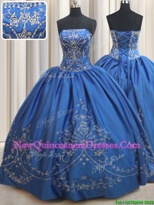 Ball Gowns Quinceanera Gowns Royal Blue Strapless Satin Sleeveless Floor Length Lace Up