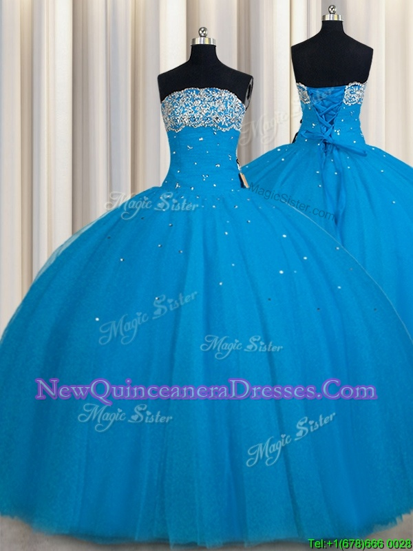 Glittering Really Puffy Teal Lace Up Strapless Beading and Sequins Sweet 16 Dress Tulle Sleeveless