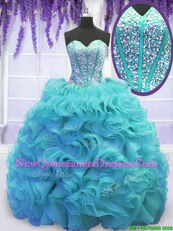 Aqua Blue Lace Up Ball Gown Prom Dress Beading and Ruffles Sleeveless Sweep Train