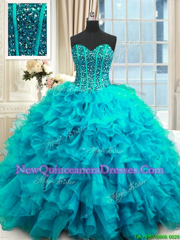 Custom Design Floor Length Lace Up Sweet 16 Dress Baby Blue and In for Military Ball and Sweet 16 and Quinceanera withBeading and Ruffles and Sequins