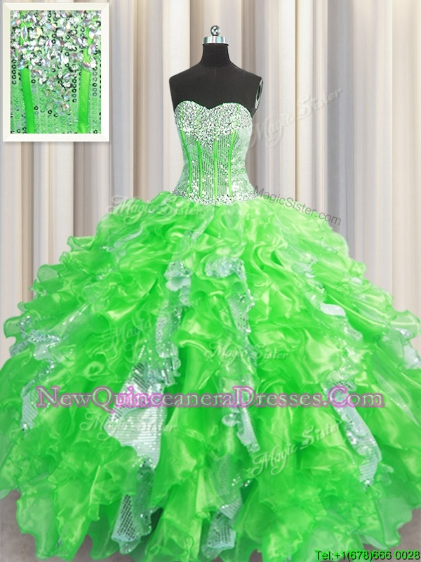 Decent Visible Boning Spring Green Sweetheart Neckline Beading and Ruffles and Sequins Quinceanera Gown Sleeveless Lace Up