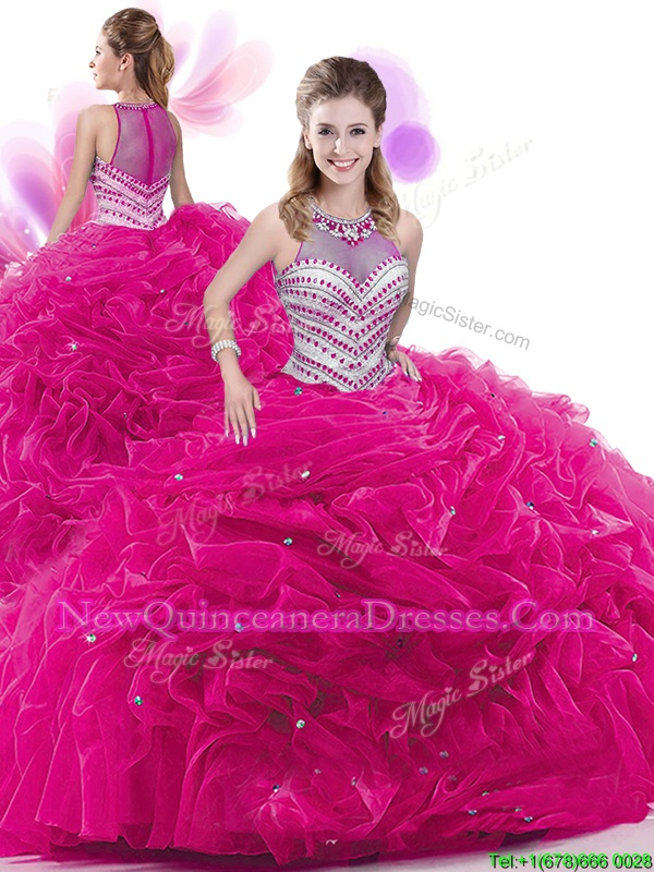 Beauteous Fuchsia Ball Gowns High-neck Sleeveless Taffeta Court Train Zipper Ruffles and Pick Ups Quinceanera Gown