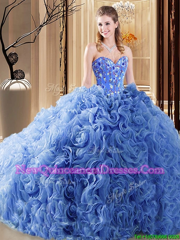 Excellent Blue Sweetheart Lace Up Embroidery and Ruffles Quinceanera Gown Court Train Sleeveless