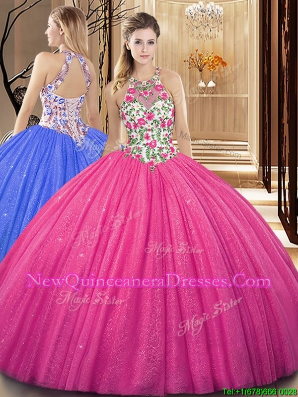 Superior Sequins Ball Gowns Quince Ball Gowns Hot Pink Scoop Tulle Sleeveless Floor Length Backless