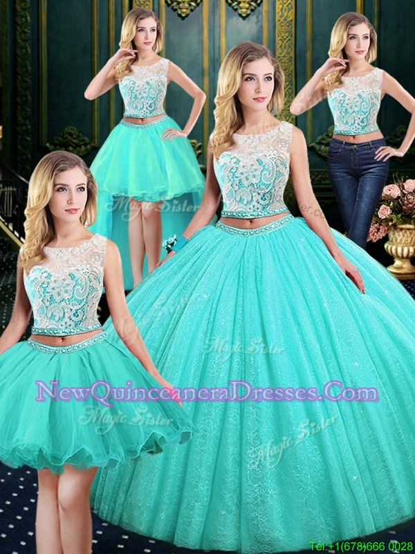 Superior Four Piece Blue Ball Gowns Scoop Sleeveless Tulle and Sequined Floor Length Lace Up Lace and Sequins Quinceanera Gowns