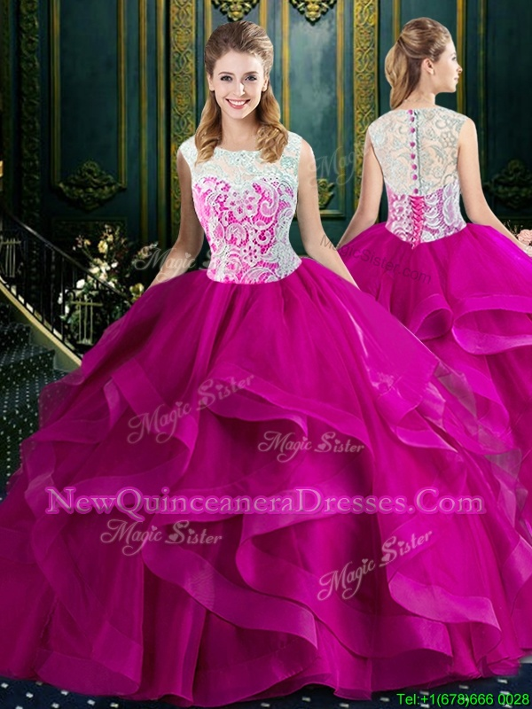 Unique Clasp Handle Square Sleeveless Quince Ball Gowns With Brush Train Lace Fuchsia Tulle