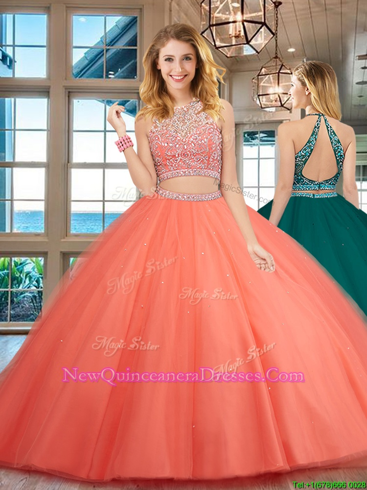 Sweet Watermelon Red Backless Scoop Beading Ball Gown Prom Dress Tulle Sleeveless
