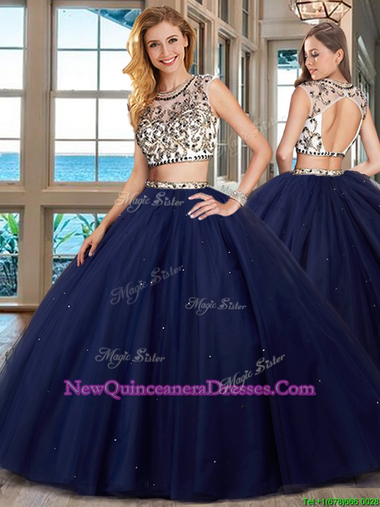 Admirable Scoop Navy Blue Backless Sweet 16 Dresses Beading Cap Sleeves With Brush Train