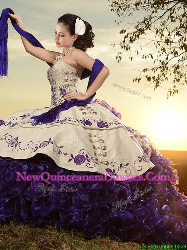 Fantastic White and Purple and White And Purple Sweetheart Lace Up Embroidery and Ruffles 15th Birthday Dress Brush Train Sleeveless