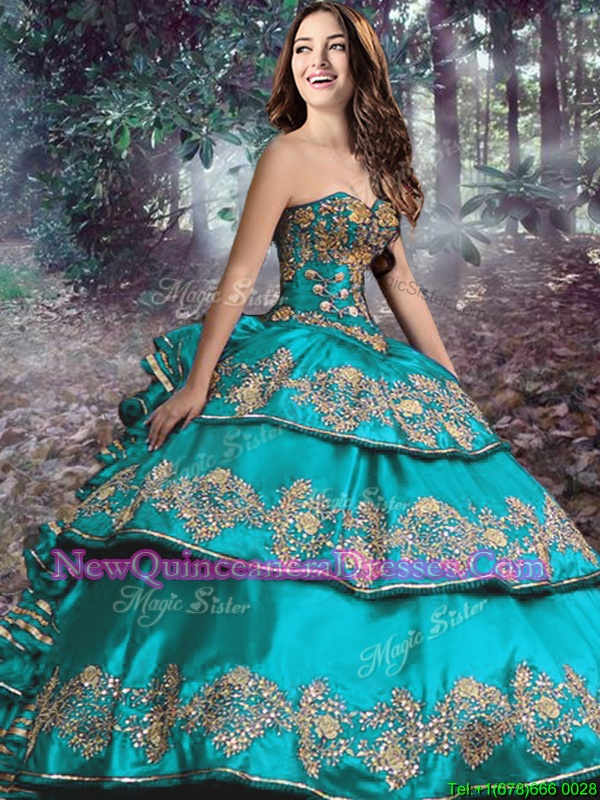Best Turquoise Ball Gowns Sweetheart Sleeveless Satin and Organza Floor Length Lace Up Beading and Ruffled Layers 15th Birthday Dress