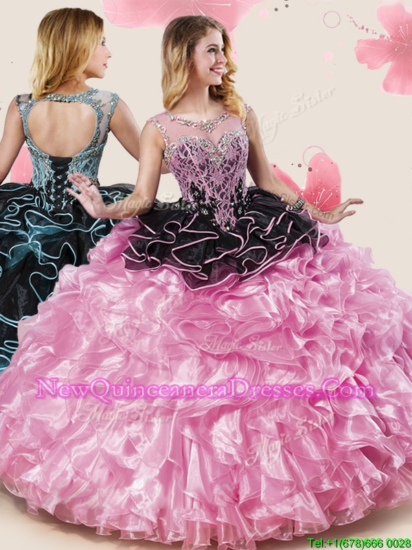 New Style Scoop Sleeveless Lace Up Floor Length Beading and Ruffles 15 Quinceanera Dress