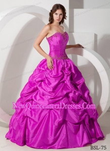 Sweetheart Fuchsia Long Beading and Pick-ups 2013 Quinceanera Dress