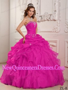 2014 Hot Pink Ball Gown Strapless Organza With Beading And Ruffles Quinceanera Dress