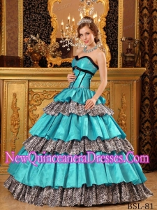 2014 Quinceanera Dress Sweetheart Floor-length Taffeta Ruffles In Turquoise