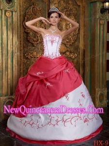 2014 Red and White Ball Gown Strapless Floor-length Embroidery Quinceanera Dress