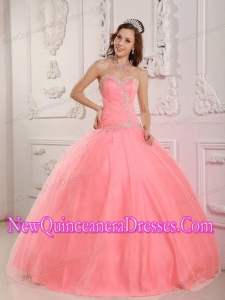 2014 Sweetheart Lovely Ball Gown Floor-length Tulle Watermelon Quinceanera Dress with Appliques