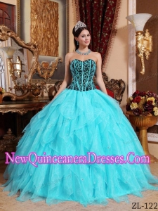 Aqua Blue and Black Sweetheart Embroidery with Beading 2014 Quinceanera Dress