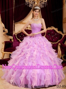 Ball Gown Sweetheart Lavender Floor-length Organza 2014 Quinceanera Dress with Beading
