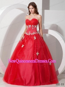 Ball Gown Sweetheart Tulle Appliques and Beading Beautiful Quinceanera Dresses