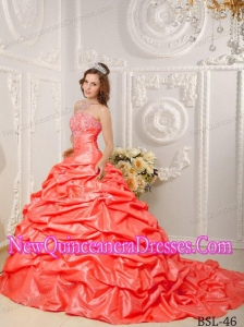 Orange Red Strapless Court Train Taffeta Appliques and Beading 2014 Quinceanera Dress