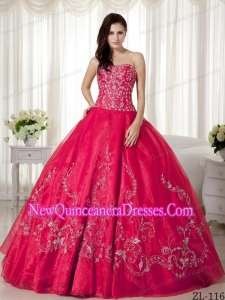 Organza Ball Gown Sweetheart Beading and Embroidery 2013 Quinceanera Dress