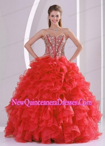 Puffy Sweetheart Long Lace Up 2013 Quinceanera Gowns with Beading Ruffles
