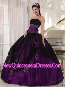 Purple and Black Strapless Floor-length Beading 2013 Quinceanera Dress