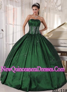Strapless Ball Gown Floor-length Taffeta Embroidery and Beading 2013 Quinceanera Dress