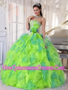 Sweetehart Organza 2013 Quinceanera Dress with Appliques and Ruffles