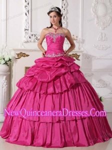 2014 Ball Gown Sweetheart Taffeta Beading and Ruching Quinceanera Dress in Hot Pink