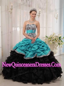 2014 Brand New Turquoise and Black Ball Gown Sweetheart Quinceanera Dress