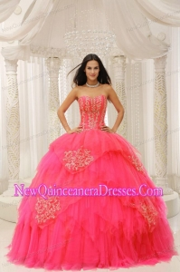 2014 Custom Made Red Sweetheart Embroidery For Quinceanera Dresses in Red