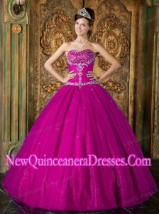 2014 Fuchsia A-Line / Princess Sweetheart Beading Tulle Quinceanera Dress