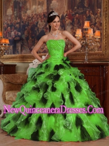 2014 Green and Black Ball Gown Strapless In Organza Quinceanera Dress
