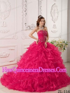 2014 Hot Pink Ball Gown Organza With Ruffles And Embroidery Quinceanera Dress