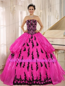 2014 Hot Pink Embroidery Floor-length and Strapless Quinceanera Dresses