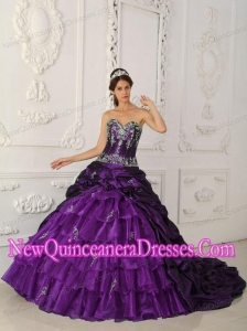 2014 Purple Sweetheart Chapel Train Taffeta and Organza Appliques Quinceanera Dress