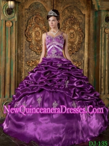 2014 Strap Floor-length Taffeta Beading Quinceanera Dress in Eggplant Purple