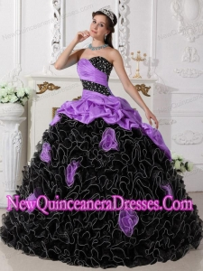 2014 Sweetheart Beading and Rolling Flowers Quinceanera Dress in Purple and Black