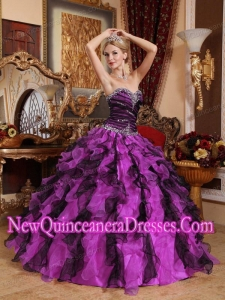 2014 Sweetheart Organza Beading and Ruffles Quinceanera Dress in Purple and Black