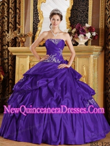 2014 Taffeta Ball Gown Strapless Purple Floor-length Appliques Quinceanera Dress