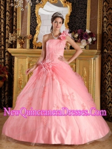 Appliqued One Shoulder Watermelon Ball Gown Floor-length Tulle 2014 Quinceanera Dress