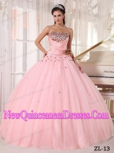Baby Pink Beading and Ruching Ball Gown Strapless Floor-length Tulle 2013 Quinceanera Dress