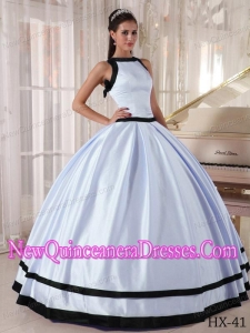 Ball Gown Bateau Lavender and Black Floor-length Satin 2013 Quinceanera Dress