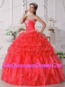 Ball Gown Strapless Organza Embroidery with Beading 2014 Quinceanera Dresses in Coral Red