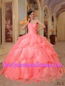Ball Gown Sweetheart Floor-length Organza Beading 2013 Quinceanera Dress in Watermelon