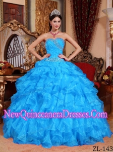 Ball Gown Sweetheart Organza Beading 2013 Quinceanera Dress in Aqua Blue