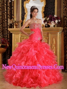 Beaded Exclusive Sweetheart Floor-length Organza Ball Gown 2014 Quinceanera Dress