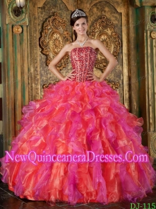 Beaded Multi-Color Ball Gown Strapless Floor-length Organza 2014 Quinceanera Dress with Ruffles